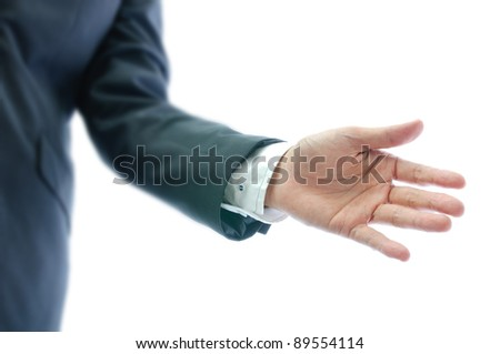 businessman with open hand isolated on white background - stock photo