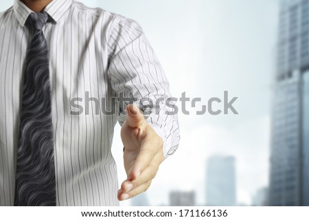 businessman with open hand ready to seal  - stock photo