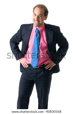 Businessman with pink shirt laughing on white background - stock photo