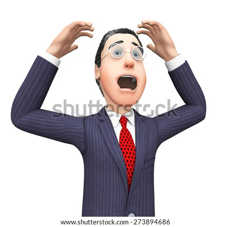Businessman With Problem Indicating Tight Spot And Hurdle - stock photo