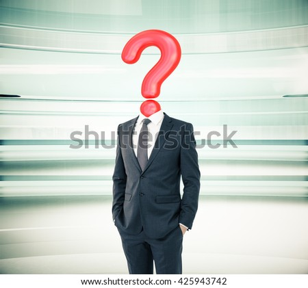 Businessman with question mark head on abstract green background - stock photo