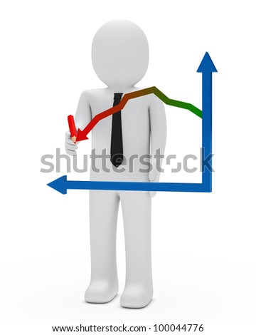 businessman with red pencil arrow graph down