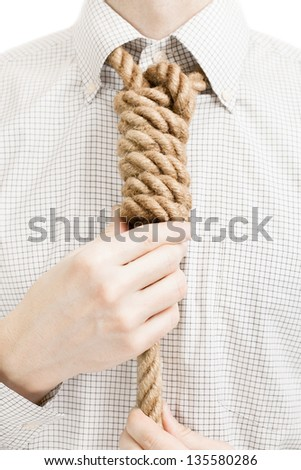 Businessman with rope over his neck - stock photo
