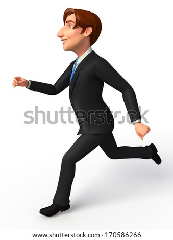 Businessman with running