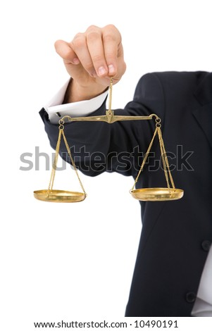 businessman with scales of justice on white background - stock photo