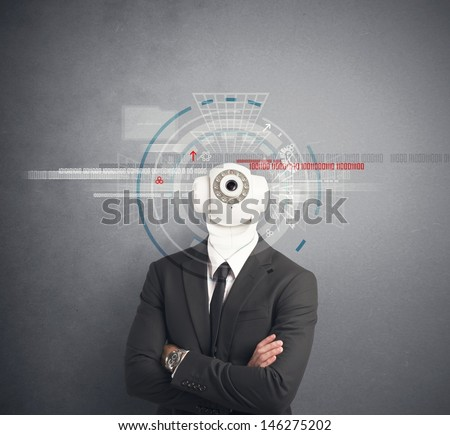 Businessman with security camera in the head - stock photo
