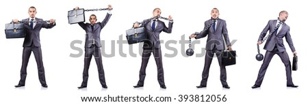 Businessman with shackles on white - stock photo