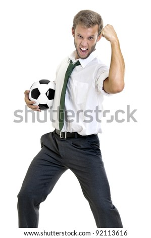 Businessman with soccer ball posing - stock photo