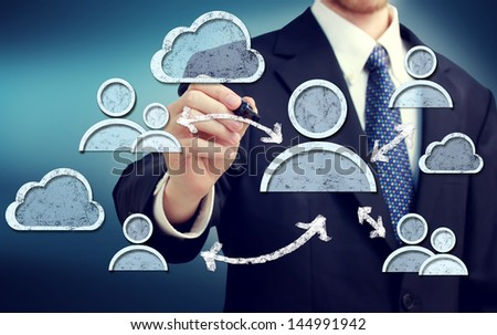 Businessman with Social Media Concepts - stock photo