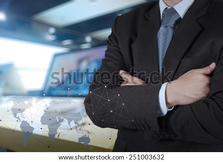 businessman with social network diagram and computer retail background as concept  - stock photo