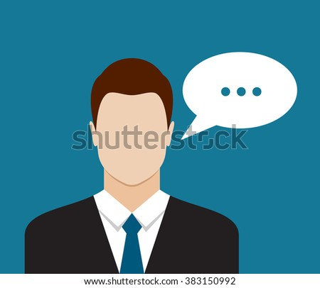 Businessman with speech communication bubble. Flat design illustration - stock photo