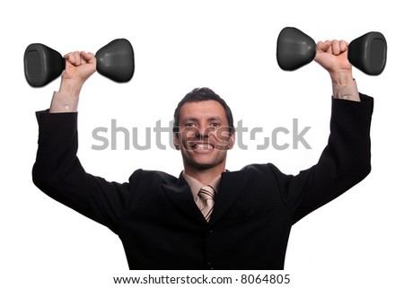 businessman with spinlock dumbbells - stock photo