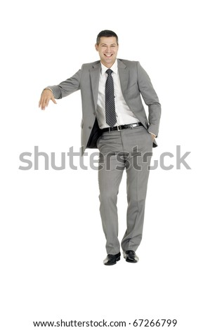 businessman with stand - stock photo
