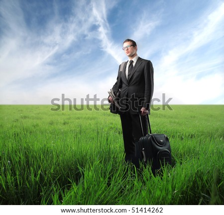 Businessman with suitcase standing on a green meadow - stock photo