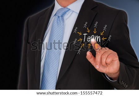 Businessman with Team - stock photo