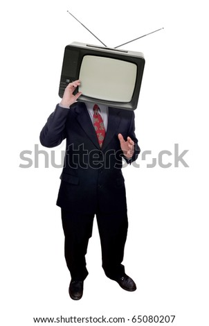 Businessman with television head isolated over white - stock photo