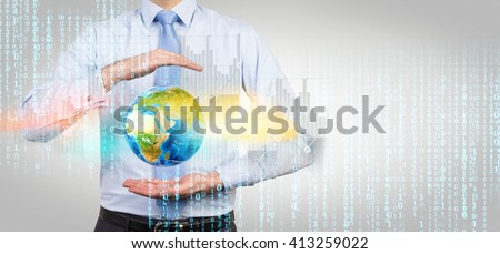 Businessman with terrestrial globe and digital elements on concrete background. Elements of this image furnished by NASA - stock photo