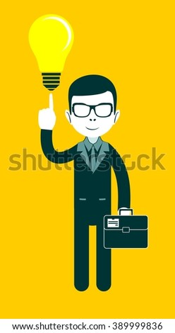 Businessman with the idea - light bulb as a symbol of having an ideat. Stock illustration  - stock photo