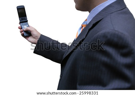 Businessman with the latest technology - stock photo