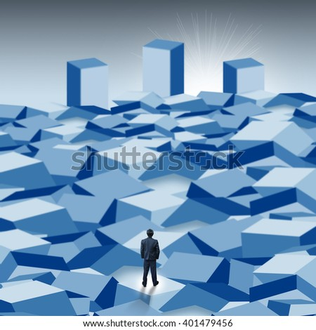 businessman with the way to success - stock photo