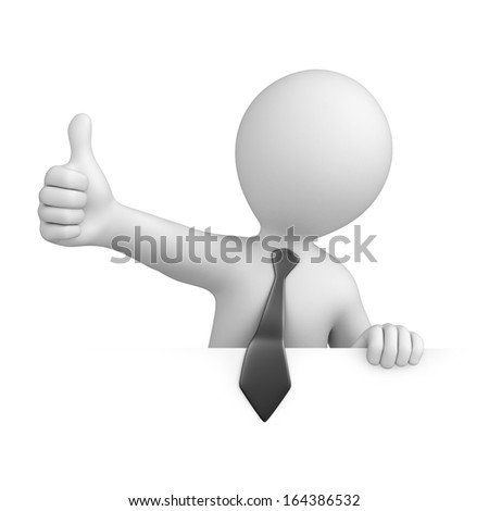 businessman with thumb up. image with a work path - stock photo