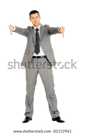 businessman with thumbs down - stock photo