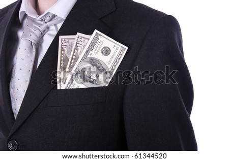 Businessman with tie showing dollar bills on the pocket, isolated in white. - stock photo