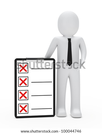 businessman with tie shows on red checklist