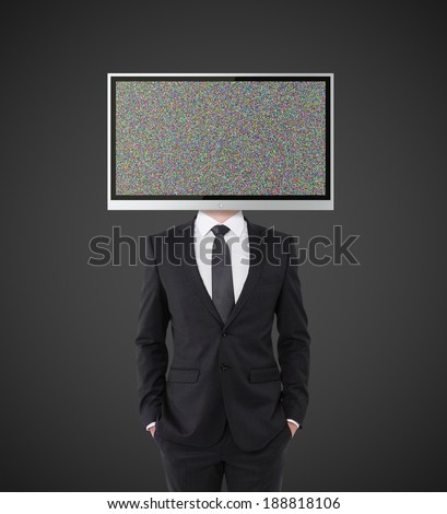 businessman with TV instead of head on black background