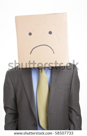 Businessman with unhappy box face