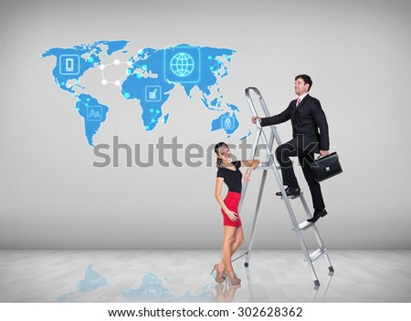 Businessman with woman assistant climbing a ladder with motivation background. Elements of this image furnished by NASA - stock photo