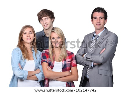 Businessman with young people