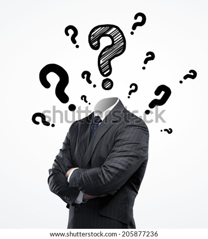 businessman without a head and question mark - stock photo