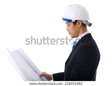 Businessman working hard, isolated on the white background. - stock photo