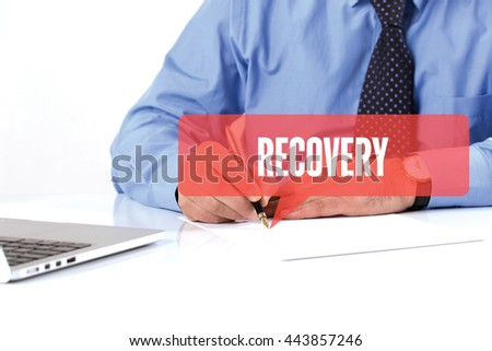 BUSINESSMAN WORKING OFFICE  RECOVERY COMMUNICATION SPEECH BUBBLE CONCEPT - stock photo