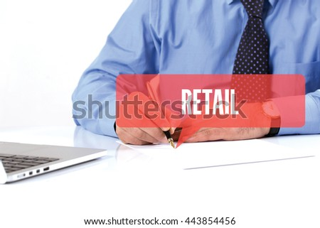 BUSINESSMAN WORKING OFFICE  RETAIL COMMUNICATION SPEECH BUBBLE CONCEPT