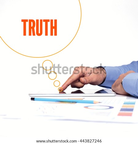 BUSINESSMAN WORKING OFFICE  TRUTH COMMUNICATION TECHNOLOGY CONCEPT - stock photo