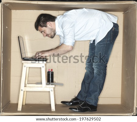 businessman working on a computer - stock photo