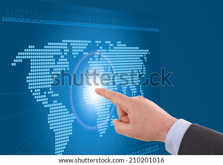 Businessman working on a digital map of the world, worldwide communication and network concept - stock photo