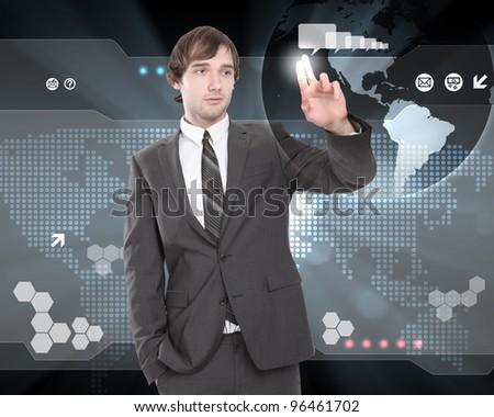 Businessman working on a virtual digital keyboard - stock photo