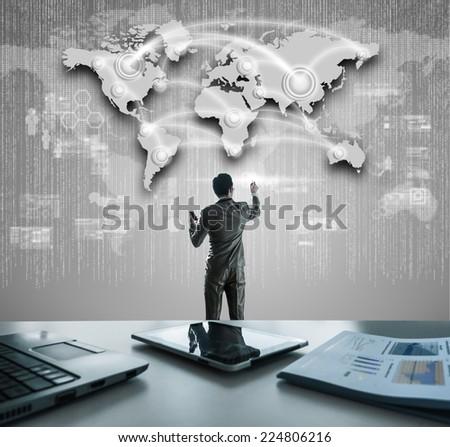 Businessman working on digital virtual screen, globalization marketing conceptual - stock photo
