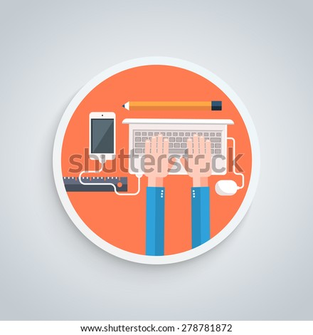 Businessman working on notebook with different task. Young business man working with modern devices digital tablet computer and mobile phone in flat design style on round banner. Raster version - stock photo