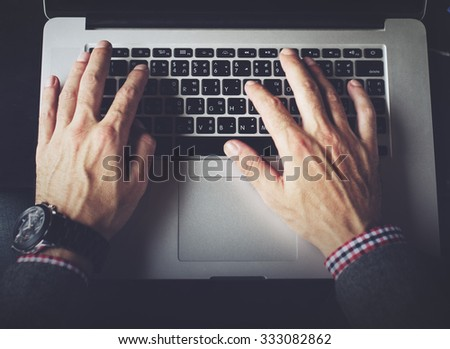 Businessman Working Typing Connect Notebook Concept