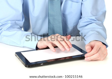 businessman working with a tablet computer - stock photo