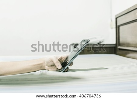 Businessman Working With Modern Devices, Digital Computer And Mobile Phone - stock photo
