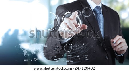 businessman working with  modern technology as concept  - stock photo