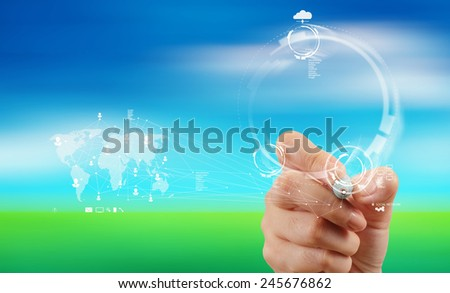 businessman working with new modern computer show social network structure on blue sky background - stock photo