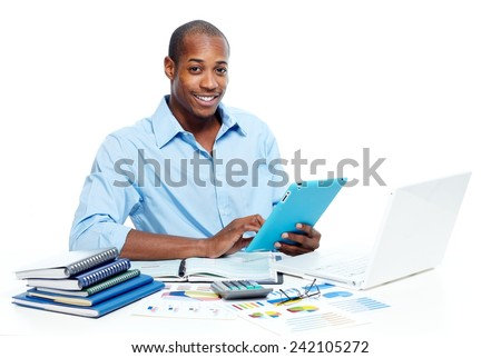 Businessman working with tablet computer isolated white background - stock photo