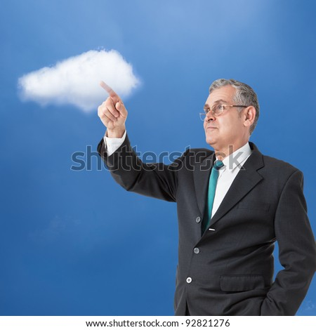 businessman works with cloud computer - stock photo