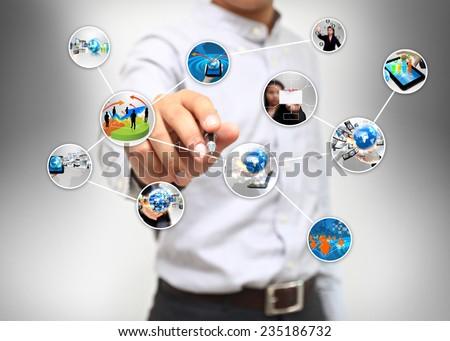 Businessman write business diagram.  - stock photo